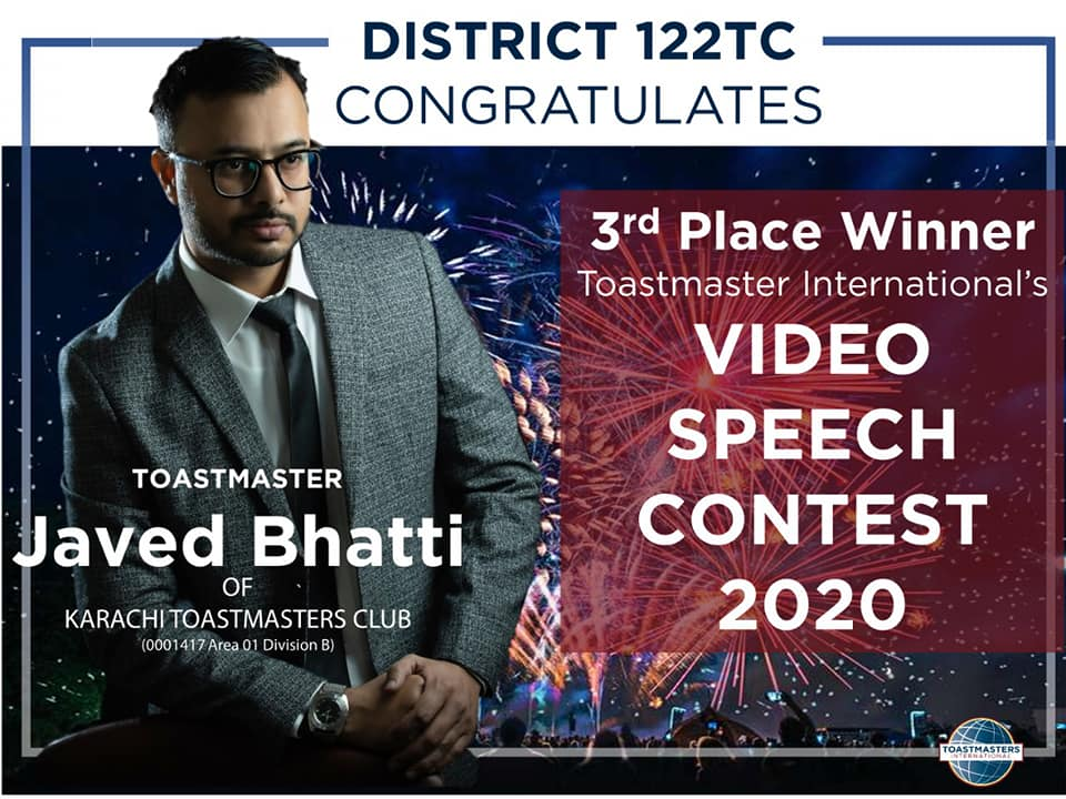 Toastmaster from Pakistan wins 3rd place in Toastmaster International Video Speech Contest